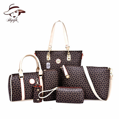 Luxury 6 Piece Set Composite Printing Bag Shoulder Tote Purse Wallet Leather Crossbody