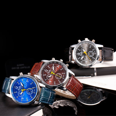 Luxury Fashion Crocodile Faux Leather Mens Analog Watch