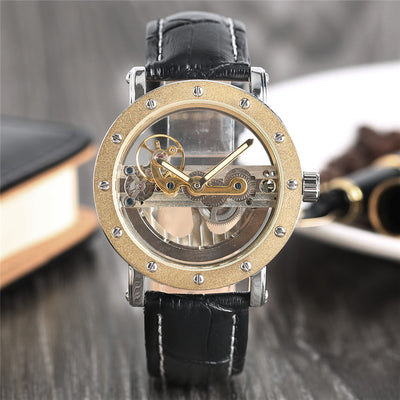 Luxury Hollow Automatic Mechanical Black Leather Wrist Watches Transparent Skeleton