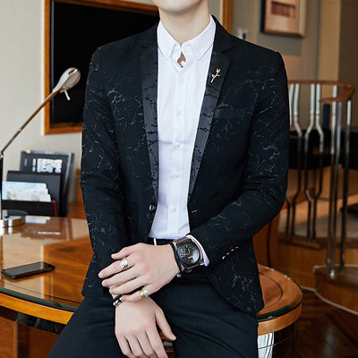 Luxury Blazer Shinny Yarn Wine Red Blue Black Contrast Collar Dinner Blazer Slim Fit Suit Jacket