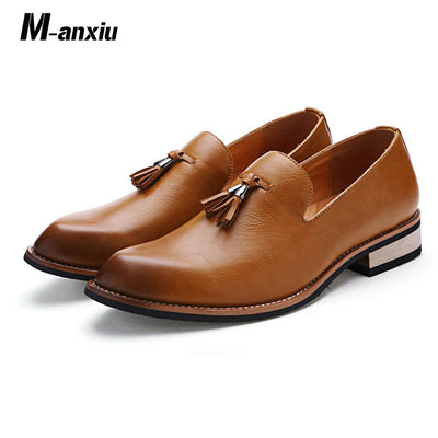 M-anxiu Pointed Toe  Brogue Casual Soft Rubber Sole Breathable