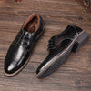 M-anxiu Flat Classic Leather Wingtip Carved Italian Lace Up Pointed Shoes