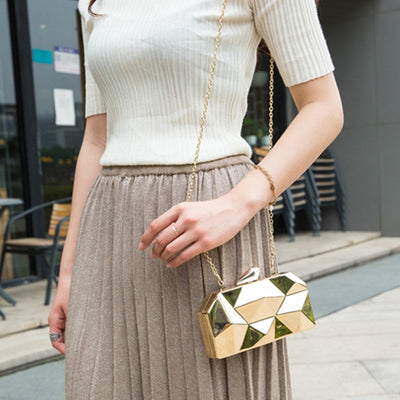 MAGICYZ Gold Acrylic Box Geometry Clutch Elegant Chain Handbag