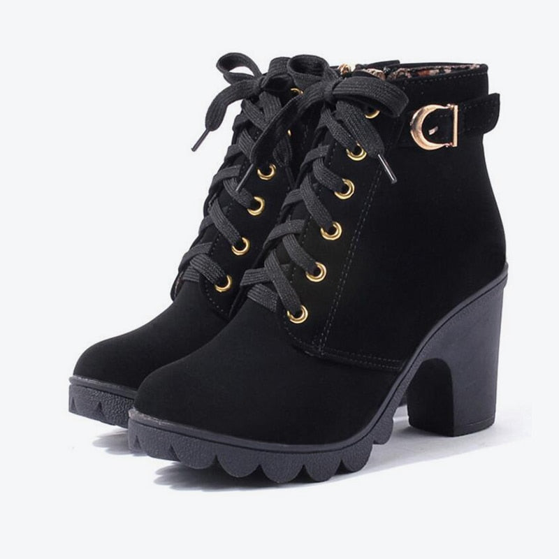 cb18ae8a9fb MCCKLE Ankle Platform High Heels Lace Up Buckle Strap Thick Heel ...