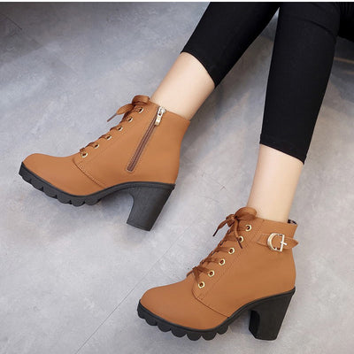 MCCKLE Ankle Platform High Heels Lace Up Buckle Strap Thick Heel Short Boot