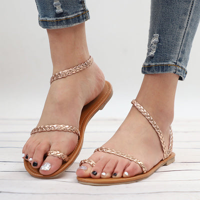 MCCKLE Thong Flip Flops Weaving Casual Beach Flat With Shoes Rome Style Female Sandal Low Heels