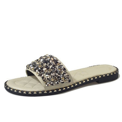 MCCKLE Flat Beach Slippers Crystal Rivets Slides Slipper Leisure Footwear