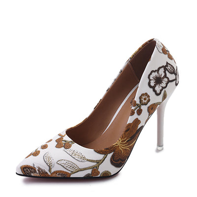MCCKLE Pumps Heel Pointed Flower Pattern Sexy High Heel Stilettos Dress shoe