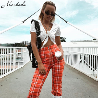 Macheda  Plaid Zipper Fly Loose Long Straight Work Pants