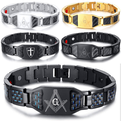 Magnetic Stainless Steel Hand Chain Masonic ID Cross Bracelets Carbon Fiber Health Bangles