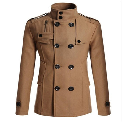Autumn Winter Warm Lapel Long Sleeve Double Breasted Peacoat Casual Outwear Wool Coat Trench