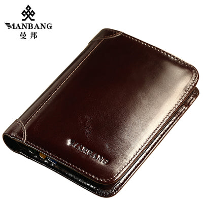 ManBang Classic Style Wallet Genuine Leather Card Holder Wallet