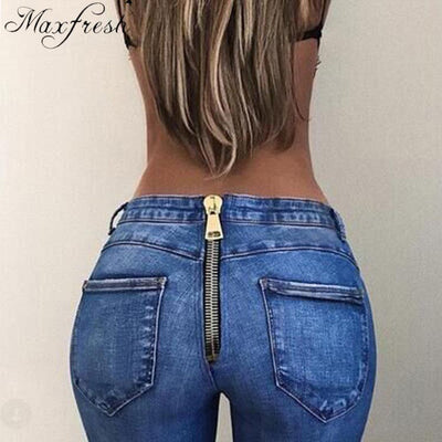 Maxfreshfemme Back Zipper Pencil Stretch Skinny High Waist Denim Jeans