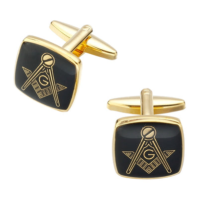 MeMolissa Masonic Classic Square Gold with Black Personality Shirt Cufflinks