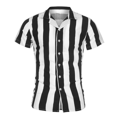 Multicolor Striped Lapel Shirts Short-Sleeve Top Shirt Summer Camisa Masculina