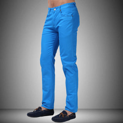 Straight Casual Jeans Fashion Design Men Pants White Blue Red