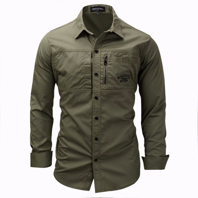 Military Long Sleeve Slim fit Khaki Army green High Quality Dress Shirt