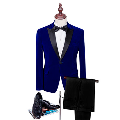 Shawl Lapel Blue Polka Dot Tuxedos For Men Blazer Suits