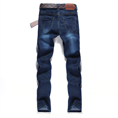 Elastic Straight Little feet Slim Pure color Spring & autumn Casual jeans