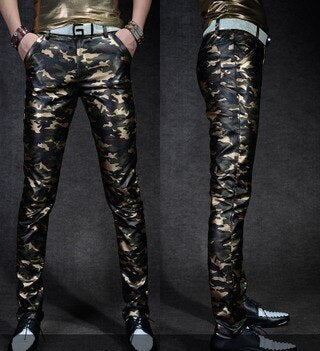 Leather Trousers Slim Fit Camouflage Casual High Quality PU Faux Leather Military pants