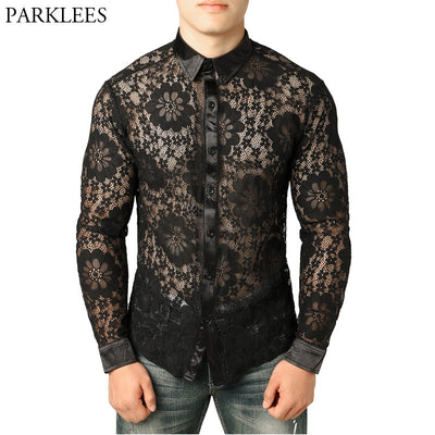 Sexy See Through Black Lace Slim Fit Long Sleeve Fishnet Flower Embroidery Shirt