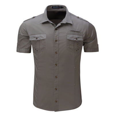 Cargo Casual Summer Style 100% Cotton Solid Mens Casual Shirt Plus Size S-XL