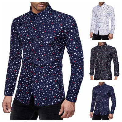 Fashion personality leisure pentagram print nightclub slim shirt long sleeve shirt