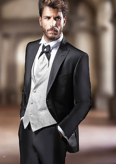 Silver Tuxedos Jacket+Pants+Vest Custom Made Wedding Suits For Men Groomsmen
