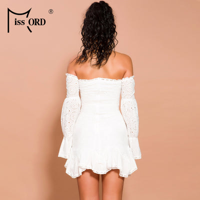 Missord Sexy Lace Off Shoulder Lantern Sleeve Elegant Holiday Mini Dress