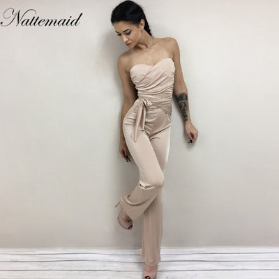 NATTEMAID Autumn Bandage strapless slash neck Bodycon Solid sexy Rompers for women