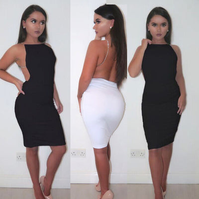 NATTEMAID Metal Chain sleeveless Slim Fitted Stretchy Bodycon Pencil Dress