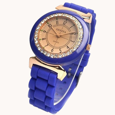 Amber Golden Geneva Silicone Rhinestone crystal Silicon Rubber Wristwatch