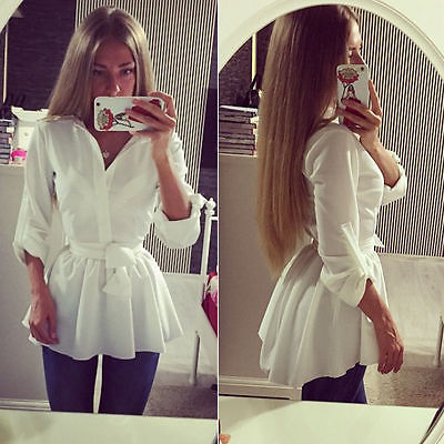 Blouse Shirt Long Sleeve Button Down Casual Tops Ladies Slim