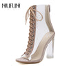 NIUFUNI Ankle Boots PVC Transparent High Heels Rain Peep Toe Boots