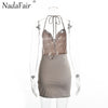 Nadafair Halter Backless Split Women Bodycon Dress Chain Mini Sexy Dress