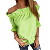 Puff Sleeve Slash Neck Solid Strapless Off Shoulder Ruffles Blouses