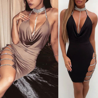 Sexy Cocktail Club Bandage Bodycon Cut Out Sleeveless V neck Party Short Mini Dress