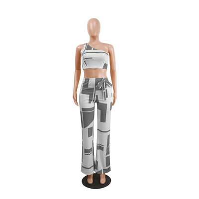 One Shoulder High Waist Wide Leg Pants Printed Vintage Matching Set Outfits
