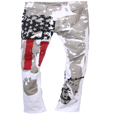 Casual American USA Flag Printed Graffiti Print white hip-hop Slim Fit Jeans