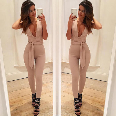 Black Deep V Fitted Sexy Bodycon Jumpsuit Romper Blue Burgunday Rosy