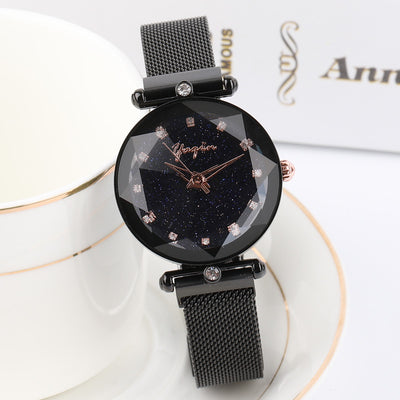 Rose Gold Star Stainless Steel Luxury Creative Quartz Wristwatch Clock