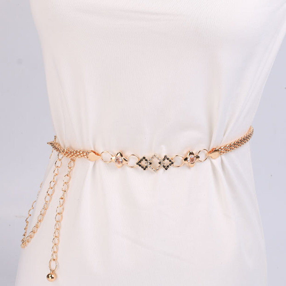 193773477ed Lovely Lady Fashion Metal Chain Style Body Chain luxury famous Belts