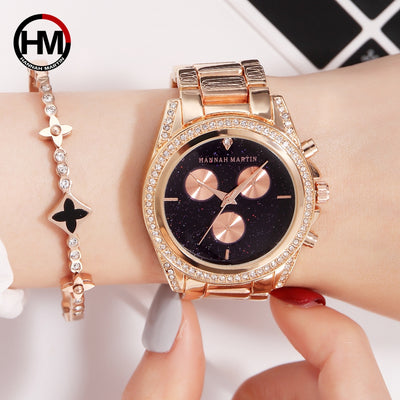 Rose Gold Quartz Movement Rhinestones Luxury Diamond Waterproof Creative Wristwatch