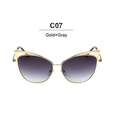Cat Eye luxury Designer Twin-Beam Mirror Sunglasses