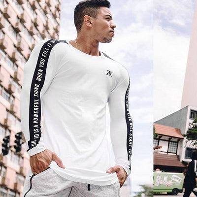 High-elasticity Sporting long Sleeve Fitness solid gyms Bodybuilding T-shirt