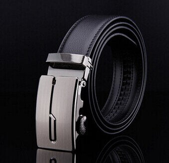 Luxury Black Genuine Split Leather High Quality Business Men Automatic Belt
