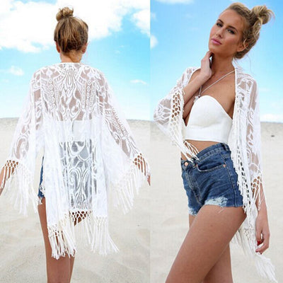 Sexy Kimono Cardigan Hollow Lace Loose Tops White black Long Sleeve Tassel Blouse