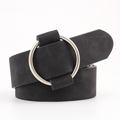 Designer round casual ladies Modeling without buckles leather belt