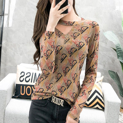New Leopard T-shirt Women Diamonds Hollow Out Slim Long Sleeve Mesh Tops Tee ropa mujer футболка T9D403Y