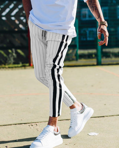Striped Streetwear Long Pencil Joggers Pants Casual Trousers Drawstring Side Stripe Slacks